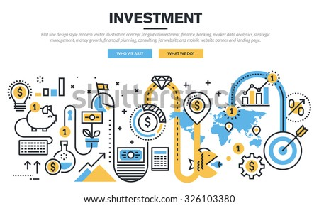 Flat line design concept for global investment, finance, banking, market data analytics, strategic management, money growth, financial planning, consulting, for website banner and landing page. - stock vector