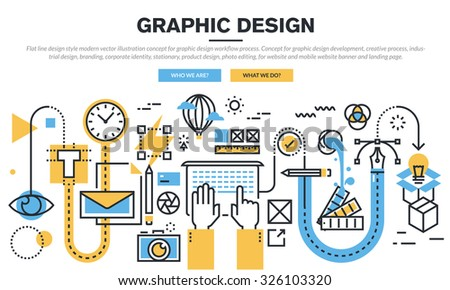 Flat line design concept for graphic design workflow process, industrial design, branding, corporate identity, stationary, product design, photo editing, for website banner and landing page. - stock vector