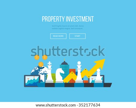 Flat line design concept for investment, finance, banking, market data analytics, strategic management. Strategy for successful business. Investment growth. Property investment - stock vector