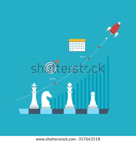 Flat line design concept for investment, strategy planning, finance, market data analytics, strategic management. Strategy for successful business. Investment growth. Strategy business.  - stock vector