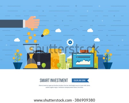 Flat line design concept for smart investment, finance, banking, market data analytics, strategic management, financial planning. Business diagram graph chart. Property investment - stock vector