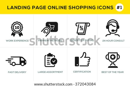 Flat line design concept icons for online shopping,  website banner and landing page - stock vector