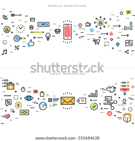 Flat line design concepts for mobile marketing, email marketing, online advertising, product and services promotion, marketing solutions and app development, for website banner and landing page. - stock vector
