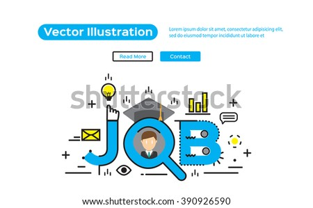 Flat line design, concepts of words job search. vector illustration concept for website, banners and mobile website - stock vector