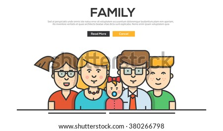 Flat Line design graphic image concept, website elements layout of Family.  Vector Illustration - stock vector