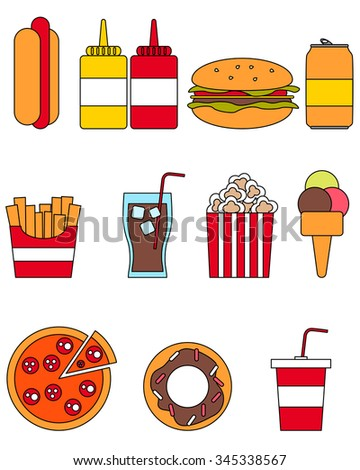Flat line design. Icon set fast food. Vector illustration