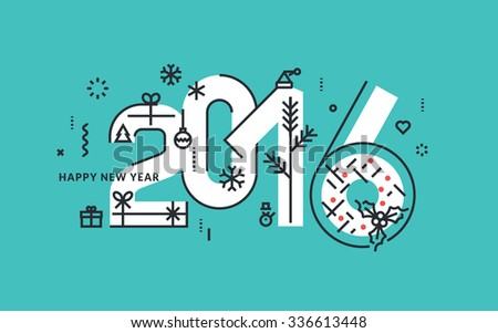 Flat line design New Year's vector illustration for greeting card and banner. - stock vector