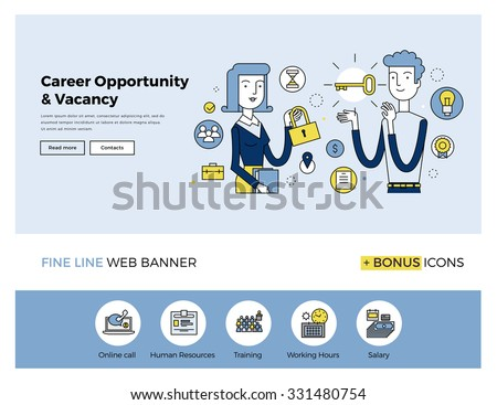 Flat line design of web banner template with outline icons of business people career opportunity, human resource hiring best candidate. Modern vector illustration concept for website or infographics.  - stock vector