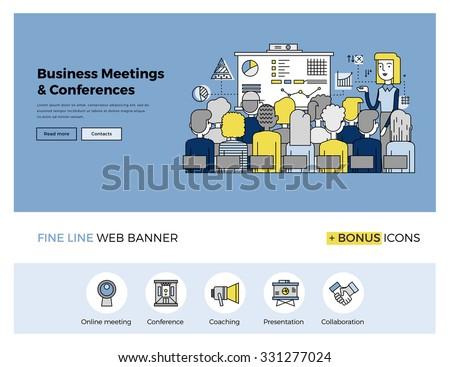 Flat line design of web banner template with outline icons of business people training, corporate conference, sales meeting presentation. Modern vector illustration concept for website or infographics - stock vector
