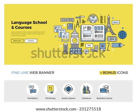 Flat line design of web banner template with outline icons of foreign language translation service, online school of English course. Modern vector illustration concept for website or infographics. - stock vector