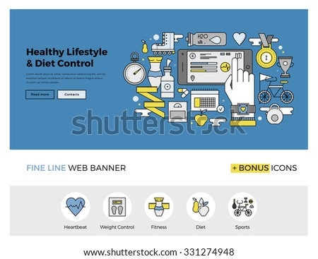 Flat line design of web banner template with outline icons of healthy lifestyle and diet control monitoring with mobile phone application. Modern vector illustration concept for website or infographic - stock vector