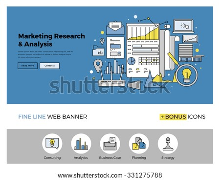 Flat line design of web banner template with outline icons of marketing research strategy, web business analytics, finance data analysis. Modern vector illustration concept for website or infographics - stock vector