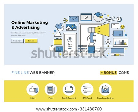 Flat line design of web banner template with outline icons of online marketing promotion, digital advertising research, SMM campaign. Modern vector illustration concept for website or infographics. - stock vector