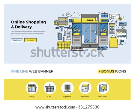 Flat line design of web banner template with outline icons of online shopping on mobile phone, purchasing goods on smartphone screen. Modern vector illustration concept for website or infographics. - stock vector