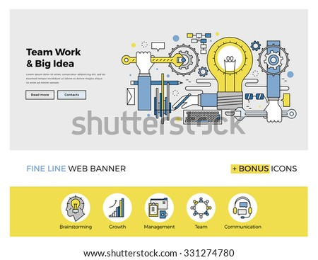 Flat line design of web banner template with outline icons of team work management on big idea, people organization of startup process. Modern vector illustration concept for website or infographics. - stock vector