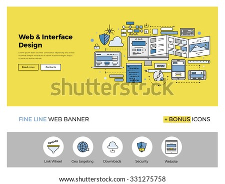 Flat line design of web banner template with outline icons of website interface sketching, prototyping UI and UX content, web page test. Modern vector illustration concept for website or infographics. - stock vector
