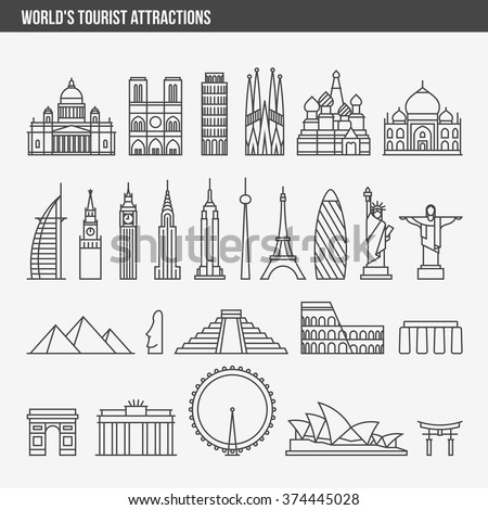 Flat line design style vector illustration icons set and logos of top tourist attractions, historical buildings, towers, monuments, statues, sculptures and modern architecture - stock vector
