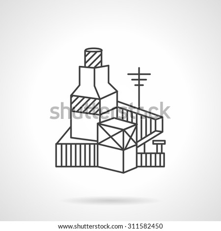 Flat Line Design Vector Icon For Brickworks Factory Industrial Architecture Elements Business