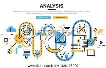 Flat line design vector illustration concept for business graph statistics, data analysis, global seo analytics, financial research report, market stats, for website banner and landing page. - stock vector