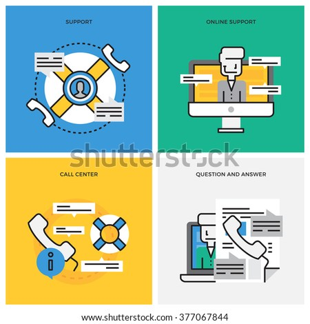 Flat line design vector illustration concept of Support, Online Support,Call Center, Help Process,Technical Support. Design for Website Element , Web Banner and promotional materials. Editable Stroke. - stock vector