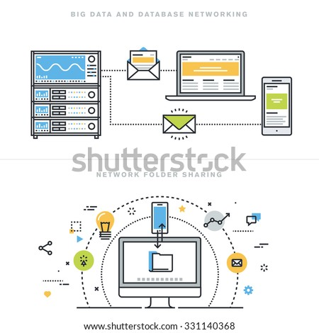 Flat line design vector illustration concepts for big data and data base networking, network folder sharing, database analysis, database server, computer network technology, for website banner. - stock vector