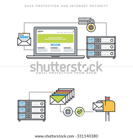 Flat line design vector illustration concepts for data protection and internet security, online safety, email protection from spam, email security software, for website banner and landing page. - stock vector