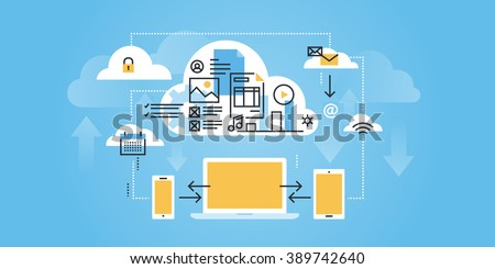 Flat line design website banner of cloud computing. Modern vector illustration for web design, marketing and print material. - stock vector