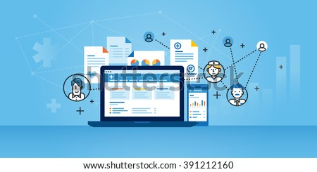 Flat line design website banner of health plan management solutions. Modern vector illustration for web design, marketing and print material. - stock vector