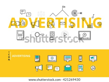 Flat line design word ADVERTISING with icons and elements. Advertising concept. Can be used for book cover, report header, presentation,infographics, printing, website banner. Vector Illustration. - stock vector