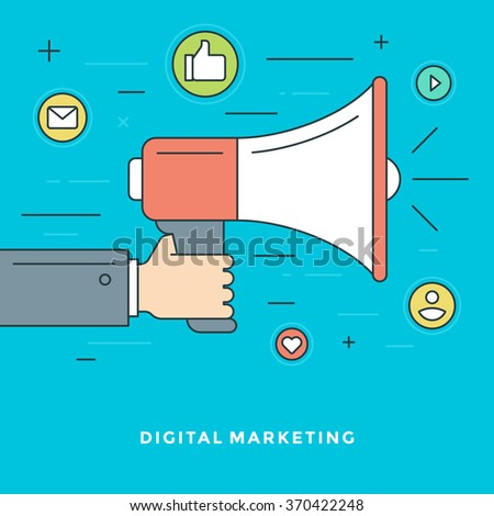 Flat line Digital Marketing Concept Vector illustration. Modern thin linear stroke vector icons. Website Header Graphics, Banner, Infographics Design, Promotional Materials. Hand Holding Megaphone. - stock vector