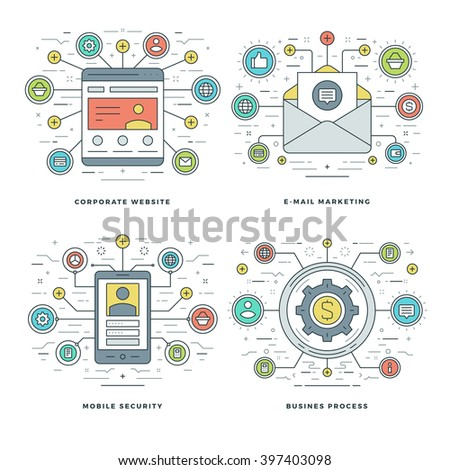 Flat line E-mail Marketing, Mobile Security, Business Process Concepts Set Vector illustrations. Modern thin linear stroke vector icons. Website Header Graphics, Banner, Infographics.  - stock vector