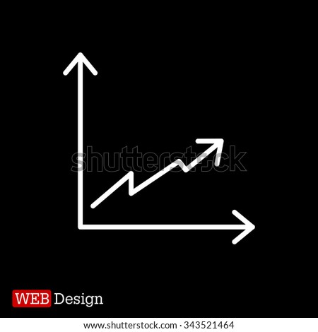 Flat line icon of graph - stock vector