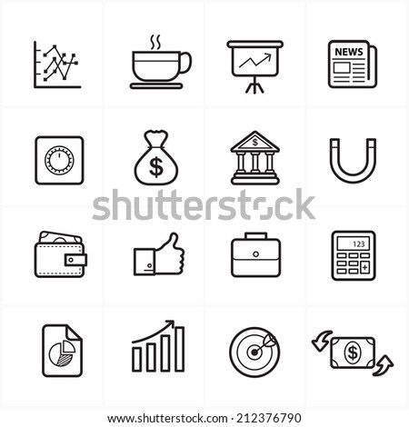 Flat Line Icons For Business Icons and Finance Icons Vector Illustration - stock vector