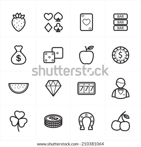 Flat Line Icons For Casino Icons and Game Icons Vector Illustration - stock vector