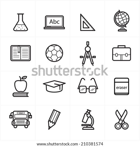 Flat Line Icons For Education Icons and School Icons Vector Illustration - stock vector