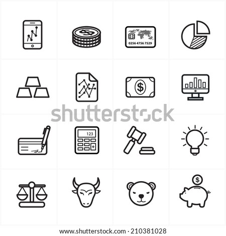 Flat Line Icons For Finance Icons and Business Icons Vector Illustration - stock vector