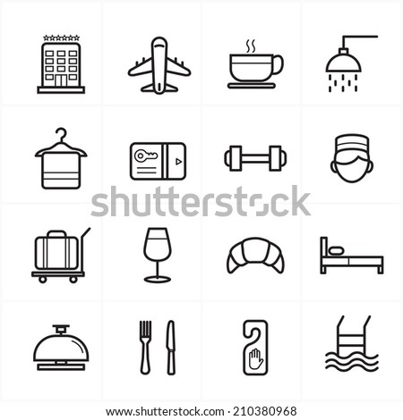 Flat Line Icons For Hotel Icons and Travel Icons Vector Illustration - stock vector