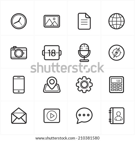 Flat Line Icons For Media Icons and Communication Icons Vector Illustration - stock vector