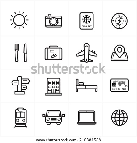 Flat Line Icons For Travel Icons and Transport Icons Vector Illustration - stock vector