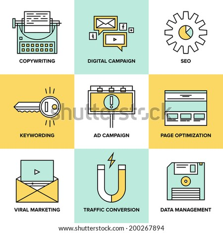 Flat line icons of digital marketing, viral advertising, social media campaign, newsletter promotion, text copywriting, website seo optimization. Flat design style modern vector illustration concept. - stock vector