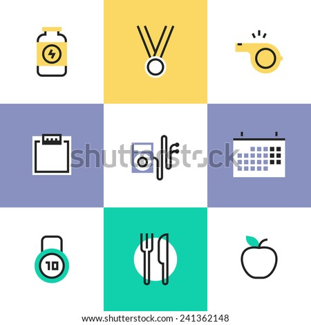 Flat line icons of fitness dieting, physical activity, sport and gym items, healthy food serving, weight loss, lifestyle relaxation. Infographic icon set, logo abstract design pictogram vector concept - stock vector