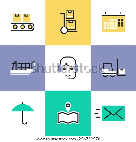 Flat line icons of global logistics services for international delivery, freight and cargo transportation, warehouse distribution. Infographic icons set, logo abstract design pictogram vector concept. - stock vector