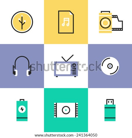Flat line icons of multimedia objects, audio and video items like TV set, headphones, audio file and USB connection interface. Infographic icons set, logo abstract design pictogram vector concept. - stock vector