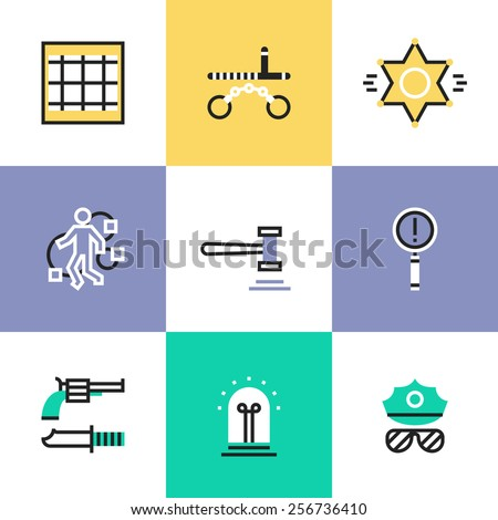 Flat line icons of police crime scene, law criminal procedure, justice gavel, detective investigation, finding evidence process. Infographic icons set, logo abstract design pictogram vector concept. - stock vector