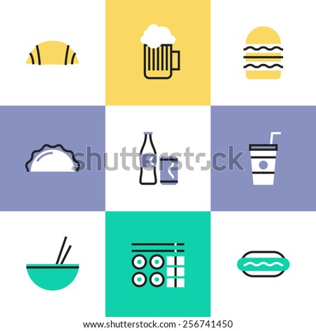 Flat line icons of popular food and drink like croissant, glass of beer, hamburger, takeaway coffee, set of sushi and hot dog. Infographic icons set, logo abstract design pictogram vector concept. - stock vector