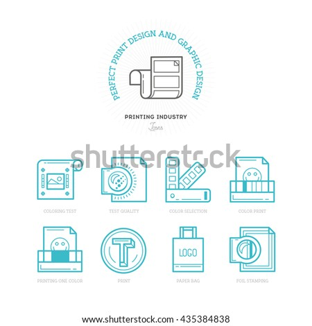 Flat line icons of Print design product  - stock vector