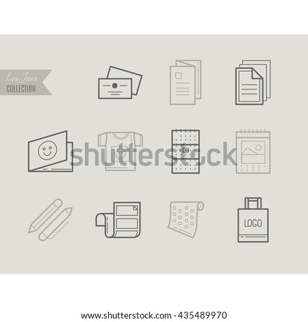 Flat line icons of Print design products, from pamphlet and booklet to greeting card, calendar, folder, flayers, labels, souvenirs, bags and package. Printing industry icons set. - stock vector