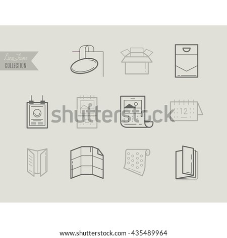 Flat line icons of Print design products, from pamphlet and booklet to plastic card, calendar, pattern, envelopes, bags and package. Printing industry icons set. - stock vector