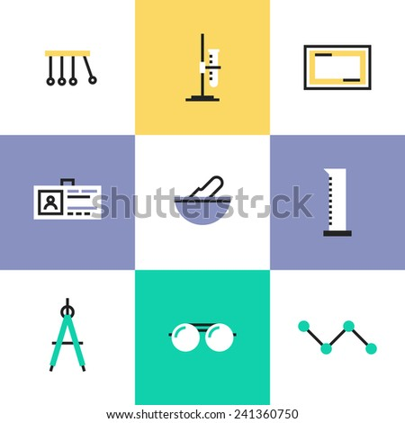 Flat line icons of science experiment, chemistry analysis tools, perpetual motion machine, tools for various mathematical purposes. Infographic icon set, logo abstract design pictogram vector concept. - stock vector