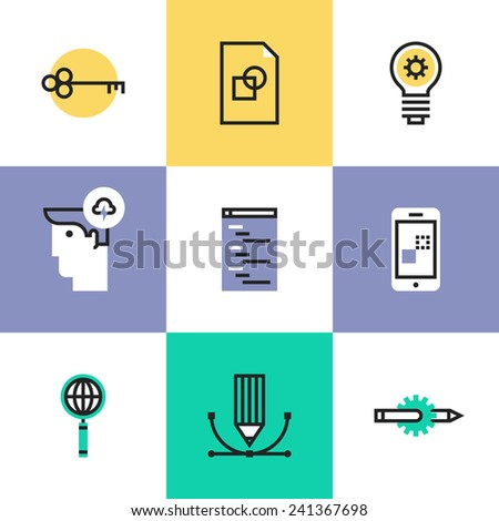 Flat line icons of SEO studio service, website optimization process, web coding programming, success idea, mobile app development. Infographic icons set, logo abstract design pictogram vector concept. - stock vector